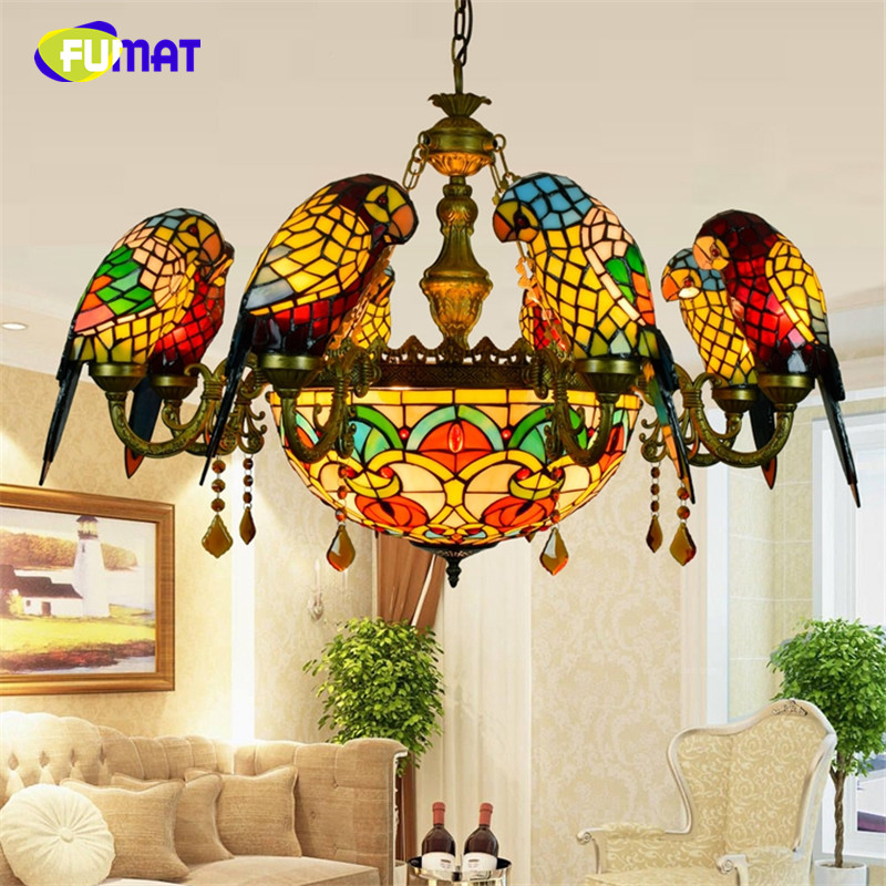 FUMAT Stained Glass Pendant Lamp Luxury Crystal Art Glass Birds Pendant Lights Living Room Lamps Parrot Retro Pendant Light