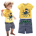 Детская одежда наборы для лета хлопка baby boy 2 шт. набор костюм осьминоги печати ребенок футболка + полоса шорты/брюки