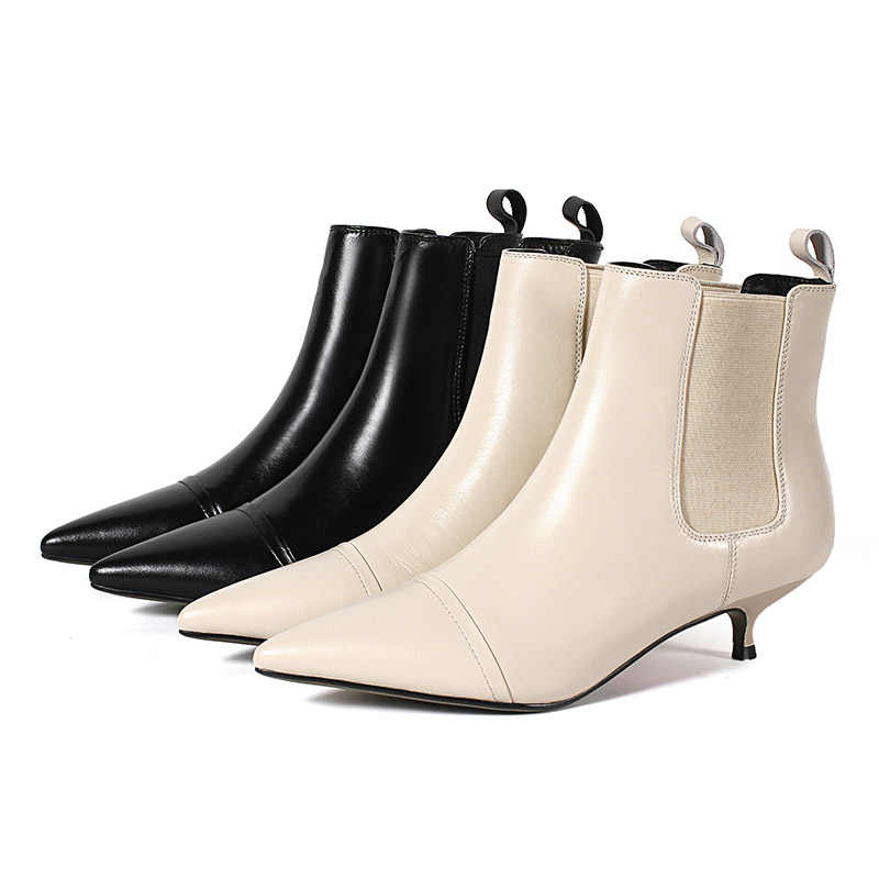 21bcef45c4eb5 ... South Korean casual style sexy pointed toe leather ankle boots stretch  black beige medium with stiletto ...