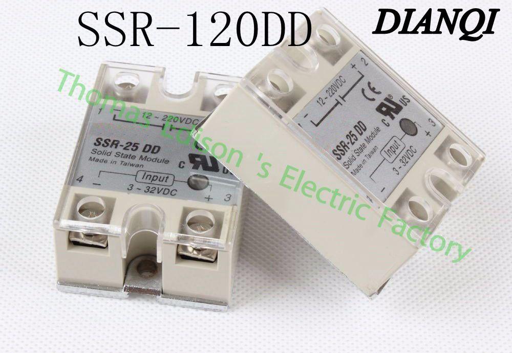 Подробнее о 1pcs  solid state relay SSR-120DD 25A 3-32 DC TO 5-60 DC SSR 120DD relay solid state soild state relay ssr 25 dd dc dc 25a 3 32vdc 5 200vdc