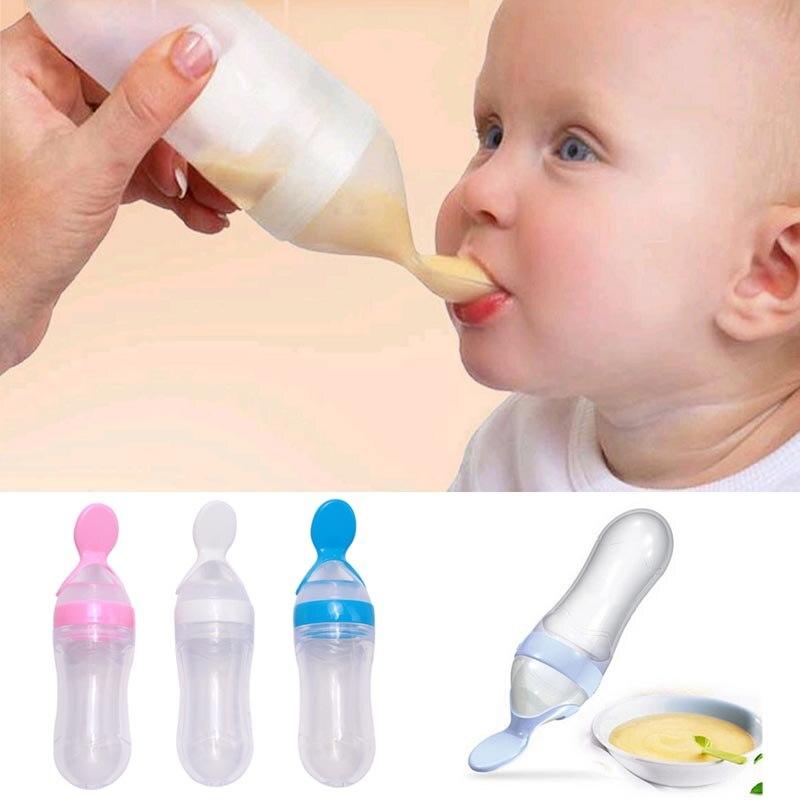 Silikon Baby Fütterung Flasche Mit Löffel Lebensmittel Ergänzung Reis Getreide Flasche Baby Squeeze Silica Gel Löffel 90 Ml SpäTester Style-Online-Verkauf Von 2019 50% Flaschen