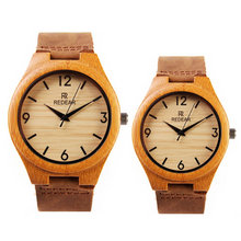 2017 new fashion brand couple men ladies simple creative fashion wooden watch cowhide strap quartz watch