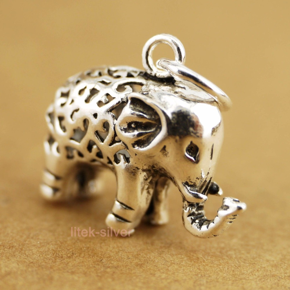 925 Solid Sterling Silver Retro Elephant Pendant Charm Necklace A2351
