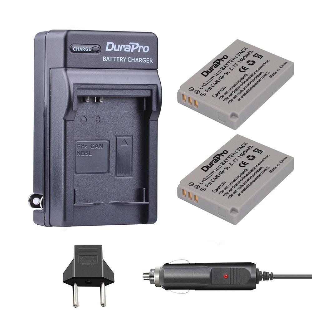 2 Unid NB-5L NB 5L NB5L Li-ion + cargador de coche para Canon S110 SX200 SX210 SX220 SX230 es HS IXUS 850 870 800 860 990 SD 950 970