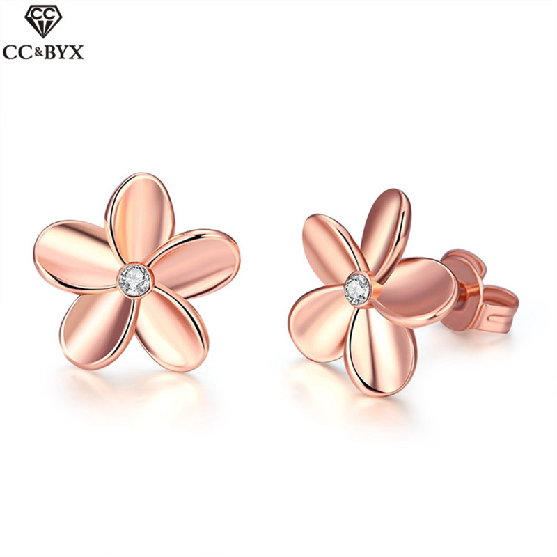 Beautiful flower shape rose gold color stud earrings for women chic exquisite jewelry accessories girls gift CCNE0218