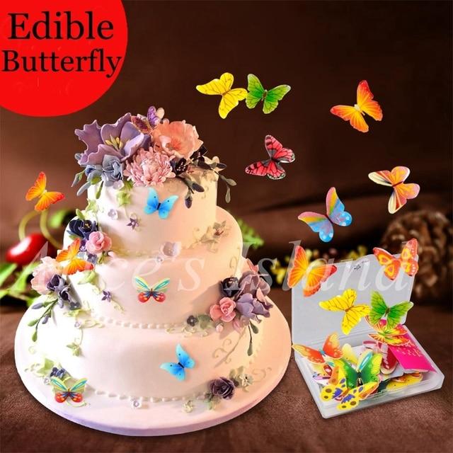 34 pièces 3d comestible papillon gâteau décoration mariage fête d