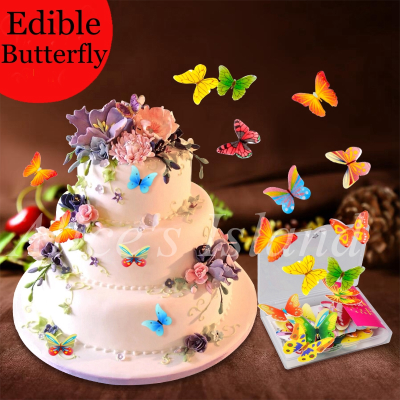 34pcs 3d Edible Butterfly Cake Decoration Wedding Birthday