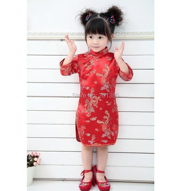 b485ea7cd864 2019 Qipao Three Quarter Baby Girl Summer Dress kid clothes Floral  Cheongsams Gift New Year Traditional