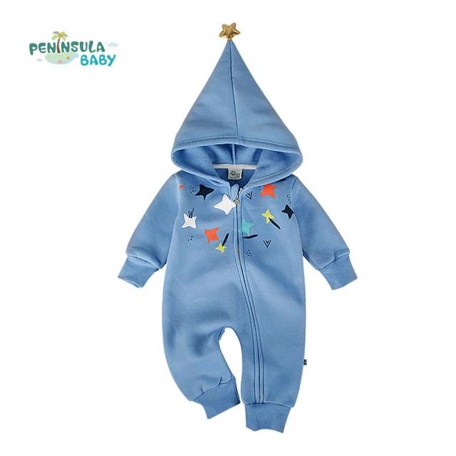 Natal Do Bebê Recém-nascido Macacão de Bebê Menino Roupas de Inverno Com Capuz Macacão Traje Menina Infantil Manga Longa Romper Do Bebê Estrela Da Sorte