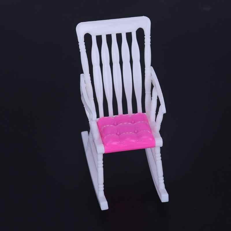 1 Pcs Kursi Goyang Furniture Aksesoris Diy Furniture Bayi Perempuan Rumah Boneka Dekorasi Mini Boneka Kursi Warna Acak