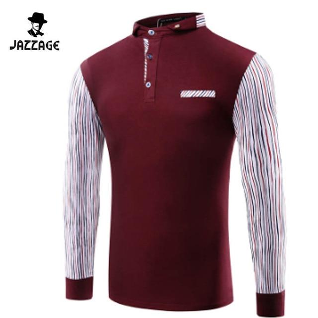 2016 Mens Polo Shirt Brands Mens Patchwork Long Sleeve POLO Shirts Brands Long Sleeve Camisas Polo Mens Polo Shirt XXXL DWQQ