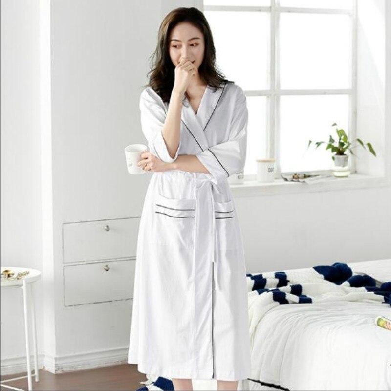 Peignoirs femmes coton chaud femme cape batas de mujer kimonos de mujer verano blanc vert avec ceinture poche robe de nuit