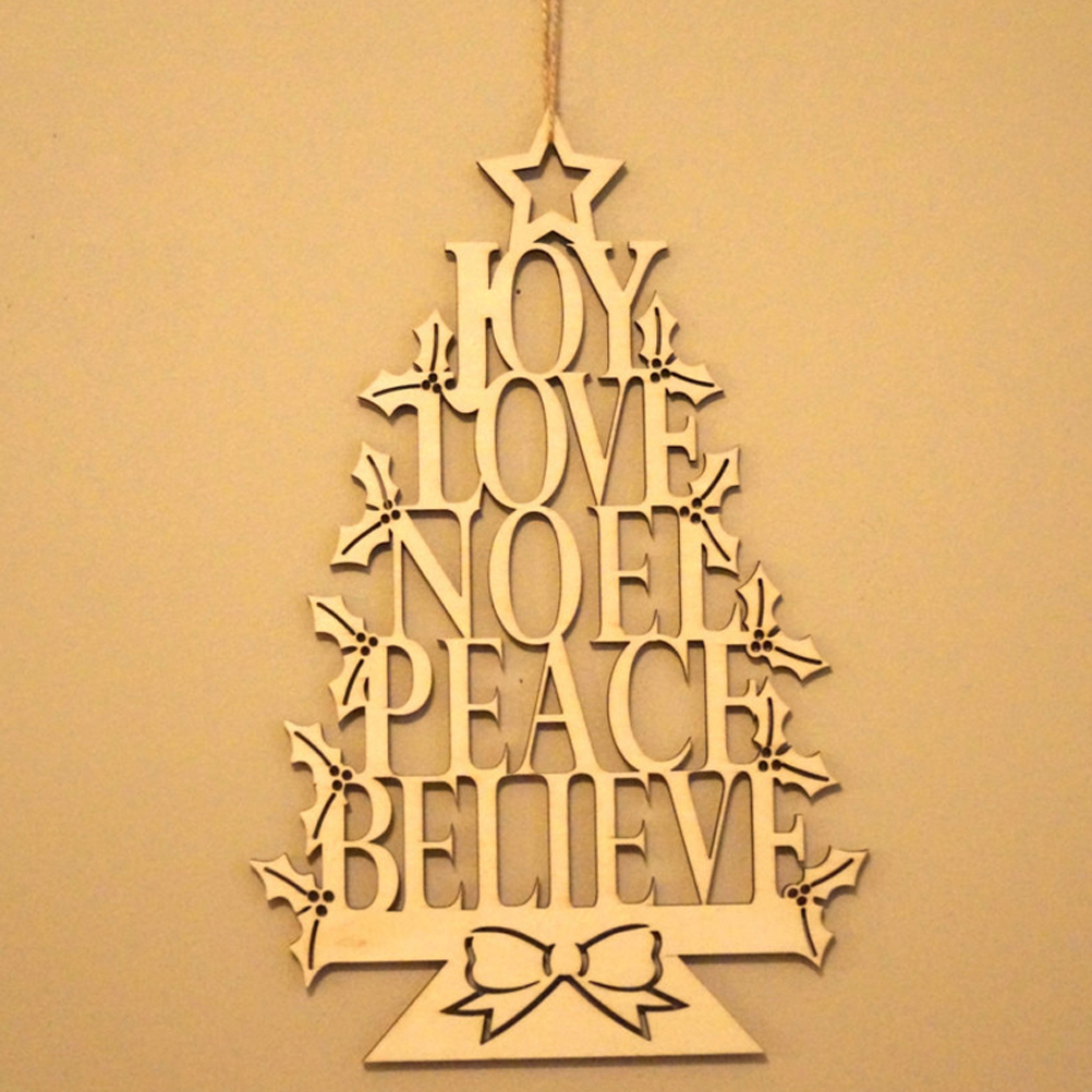 Christmas Wooden Hanging Plaque Christmas Tree Sign Hanger Wall ...