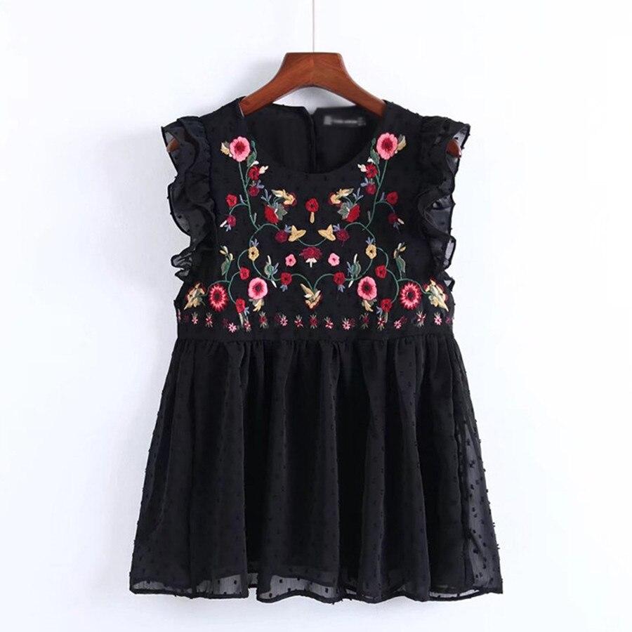 2019 Summer Vintage Floral Embroidery Chiffon Blouse Women Tops Sleeveless Ruffle See Through Black Blouses Shirt Vetement Femme