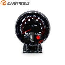 Tacómetro 3.75 pulgadas 80mm Fibra de Carbono Racing Car 0-8000 RPM RPM Gauge Con Shift Light Soporte De Montaje Meter Car Auto YC100144