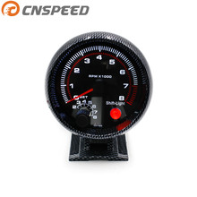 Free Shipping CNSPEED 80mm Tachometer Gauge 0-8000 RPM Carbon Fiber With Shift Light Mounting Bracket