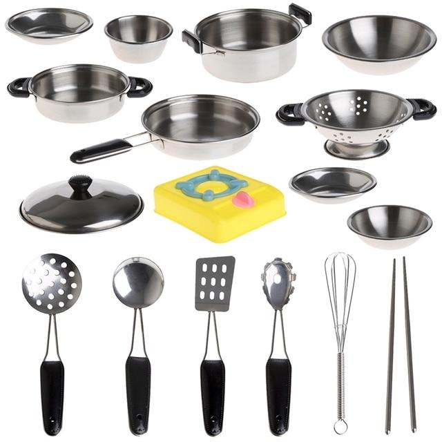 Nuevo 1 unidades sartenes ollas de acero inoxidable for Juego utensilios cocina