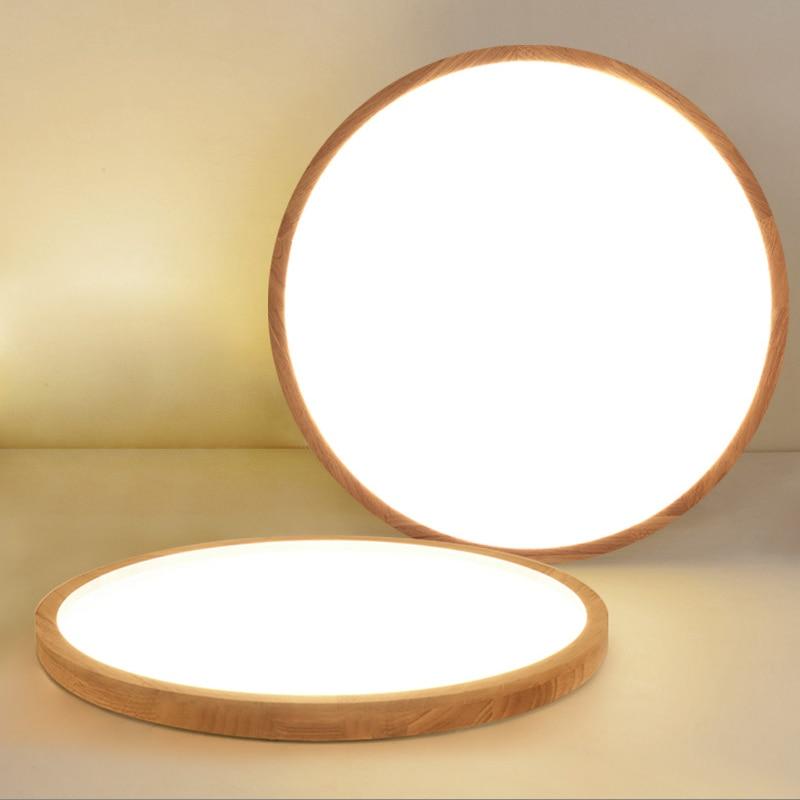 Modern OAK Wood Ceiling Lamp Ultra thin LED Ceiling Lights For Bedroom Living Room Kitchen Study AC220V 230V 240V