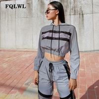 FQLWL Streetwear Reflective Two Piece Set Tracksuit Women Outfits Silver Bandage Long Sleeve Crop Top and Pants Matching Sets