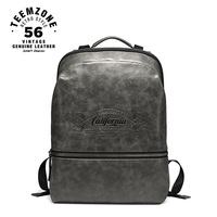 European And American Style Men Genuine Leather Laptop Backpack 17 Inch Large Leather Backpack Waterproof Casual