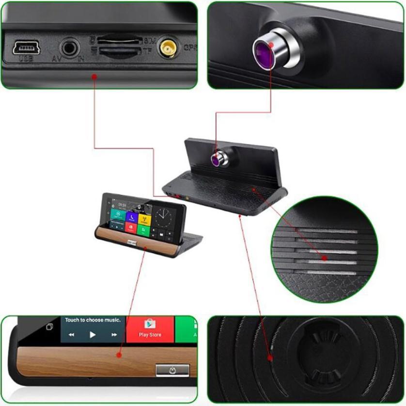 Профессиональный Автомобильный видеорегистратор GPS с два кулачка 1080p FH7inch андроида 3G +черточки WiFi видео Автомобильный видеорегистратор Z1030 челнока января 29