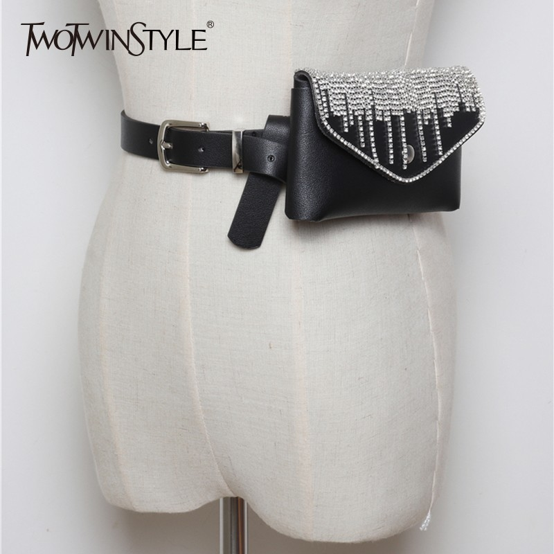 TWOTWINSTYLE PU Leather Women's Belt Full Diamond Tassel Decorative Detachable Belt Mini Mobile Phone Bag 2019 Fashion Tide New