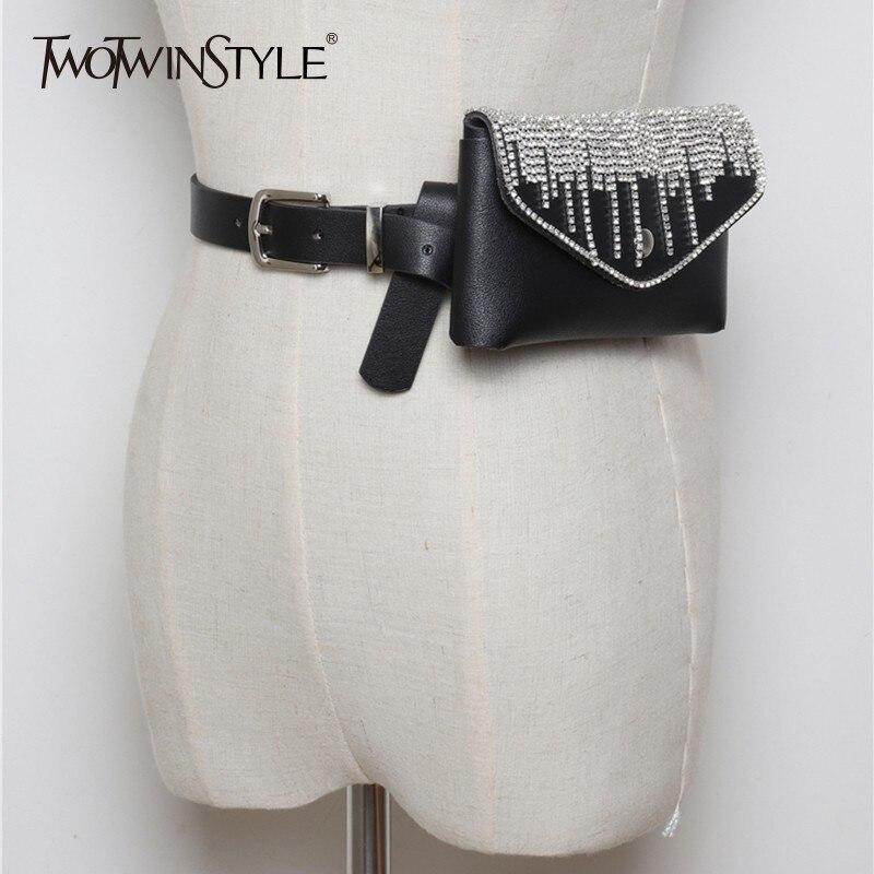TWOTWINSTYLE PU Leather Women's Belt Full Diamond Tassel Decorative Detachable Belt Mini Mobile Phone Bag 2020 Fashion Tide New