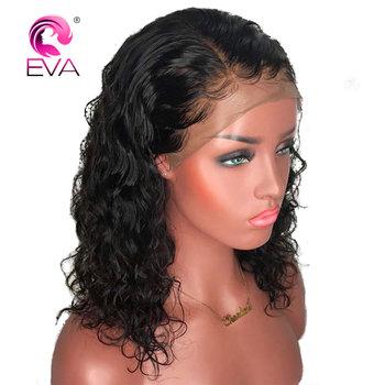 Kręcone 360 czołowa koronki peruka z Baby włosów Pre oskubane koronki przodu ludzki włos krótki Bob peruki brazylijski Remy włosy Eva włosy peruka Glueless tanie i dobre opinie Średnia wielkość Brazylijski włosy Wszystkie kolory Średni brąz Eva Hair Swiss koronki