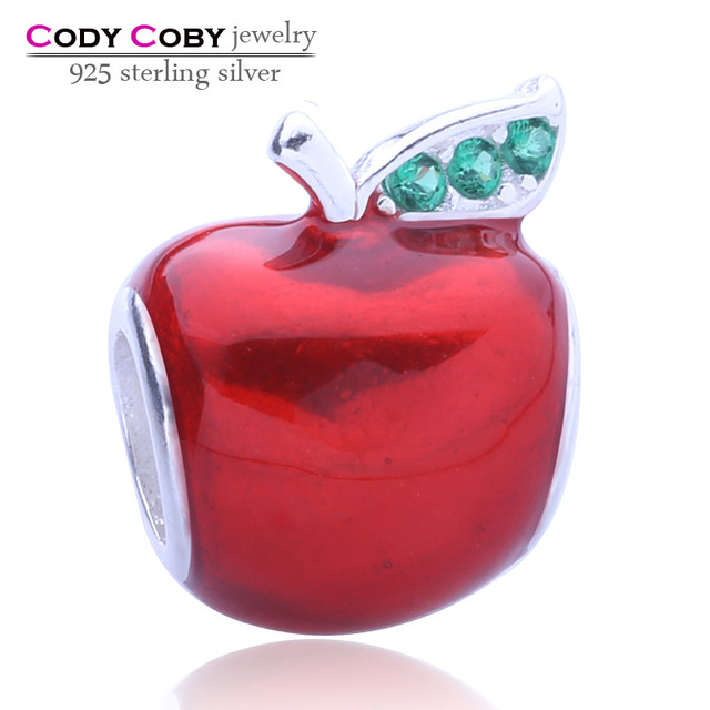 76e70c843 Red apple charm with red enamel 100% 925 sterling silver fruit bead fit Pandora  charms bracelet for Women prata Jewelry