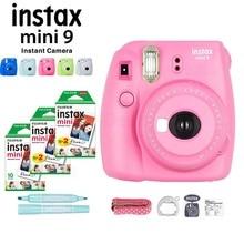 Cores Fujifilm Instax Mini Câmera Instantânea + 50 9 5 Folhas de Papel Fotográfico Fuji Instax Mini Film Branco + Marcador + Close Up Da Lente + Strap