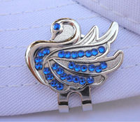 Free Shipping Blue Crystal Swan Golf Ball Marker W Bonus Magnetic Hat Visor Clip