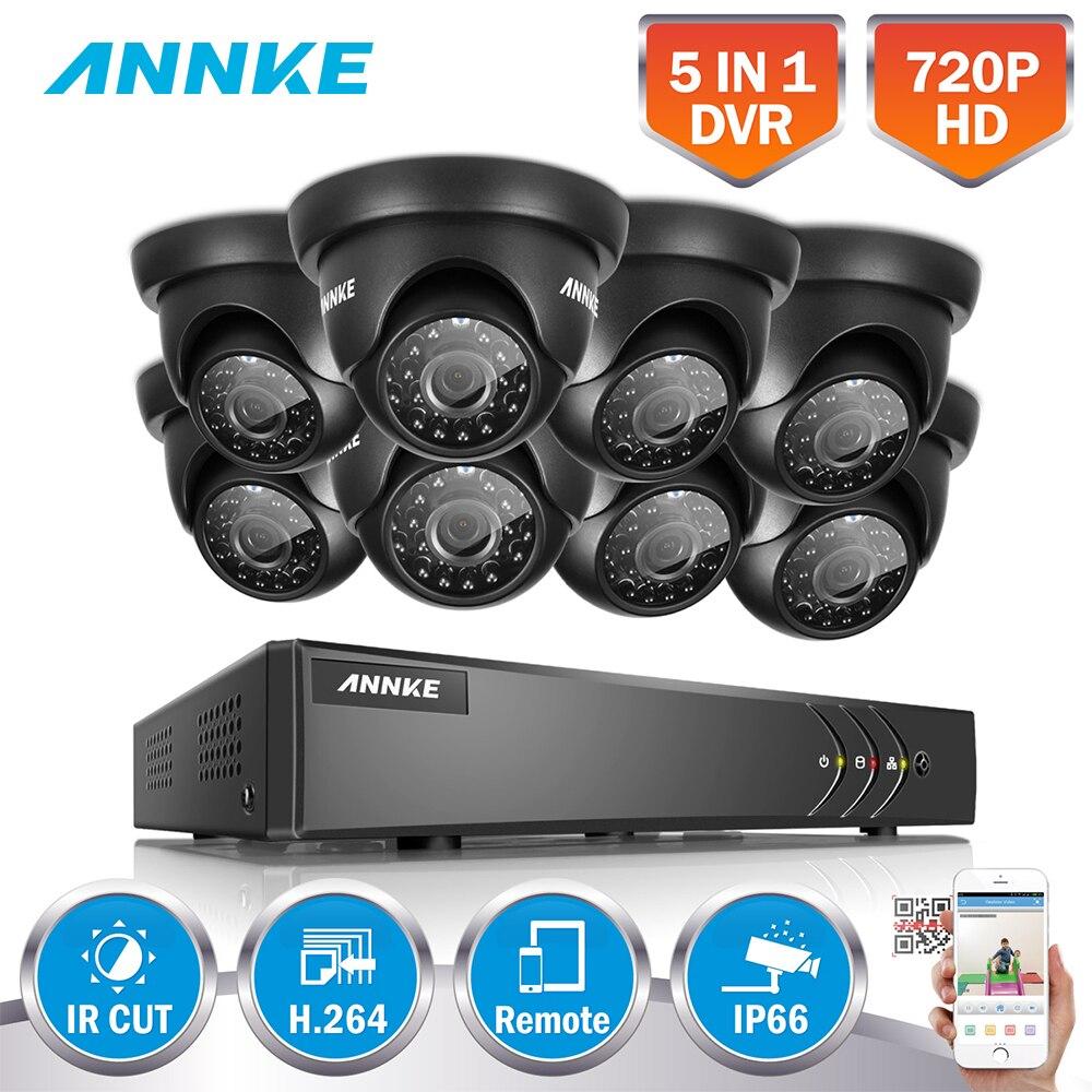 ANNKE Full HD 8CH 1080N 5IN1 Kits De Surveillance DVR 720 p En Plein Air Fixe Dôme En Plein Air Intempéries Caméras H.264 + Mouvement détection