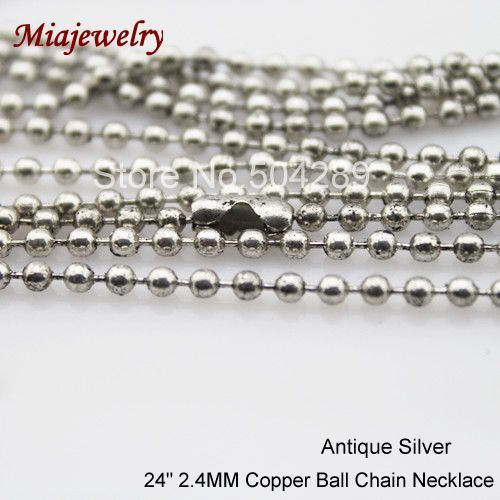 2013 Wholesale Fashion Jewelry Metal Chain 300pcs/lot 24 inch Antique Silver 2.4mm Brass  Ball Chain Necklaces