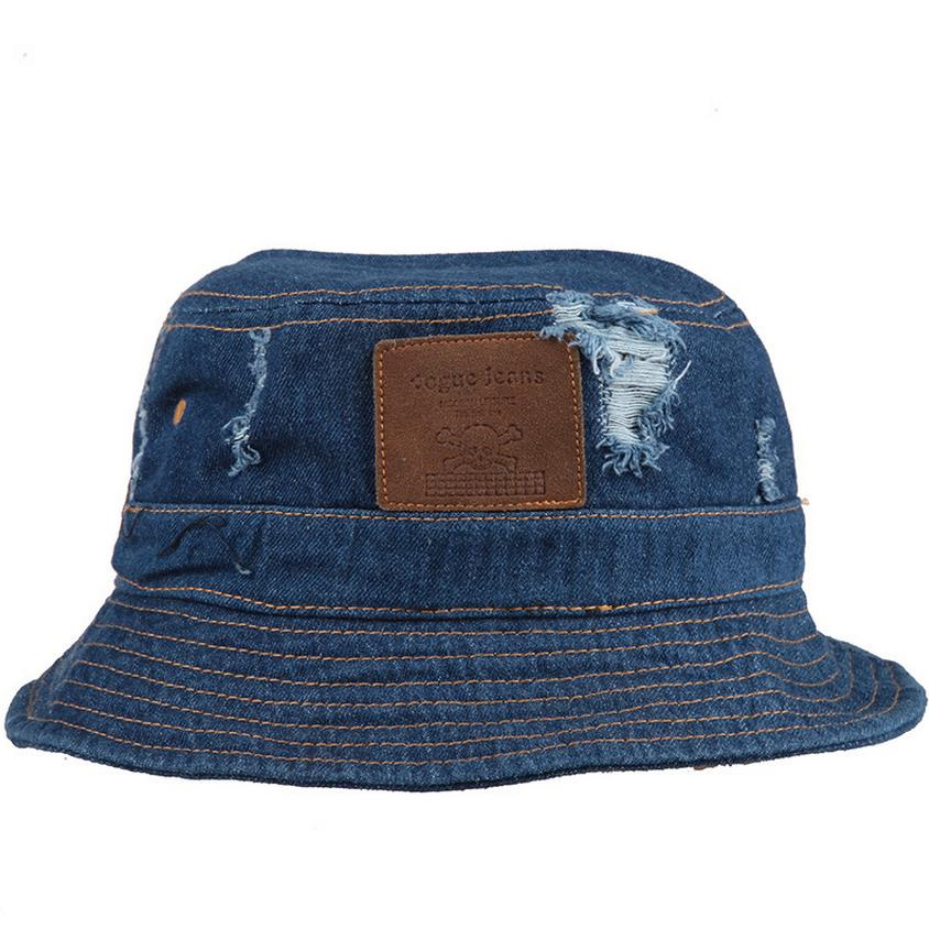 SHOWERSMILE Brand Blue Denim Bucket Hat With Ripped Hole And Skull Patch  Cotton Unisex Jean Hats Fisherman Caps For Men Women 6ad7f2c3b8f