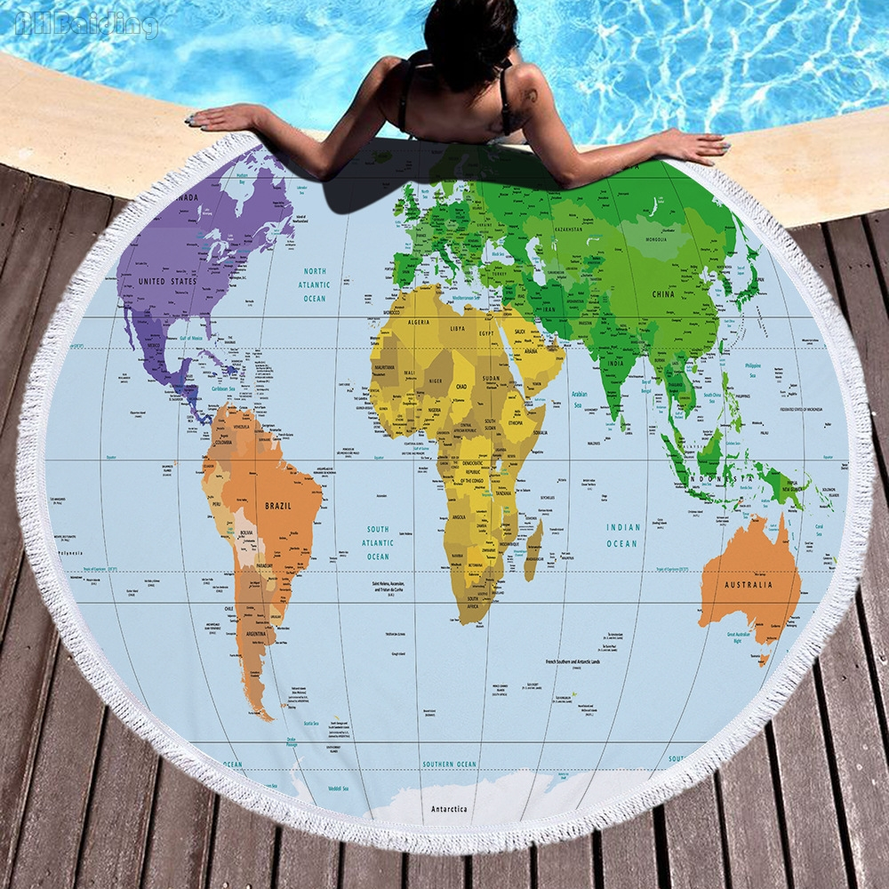 2018 Green World Map Large Round Beach Towel 150cm Size Adults Boys with Tassel Summer Bath Towel Printed Microfiber Yoga Mat