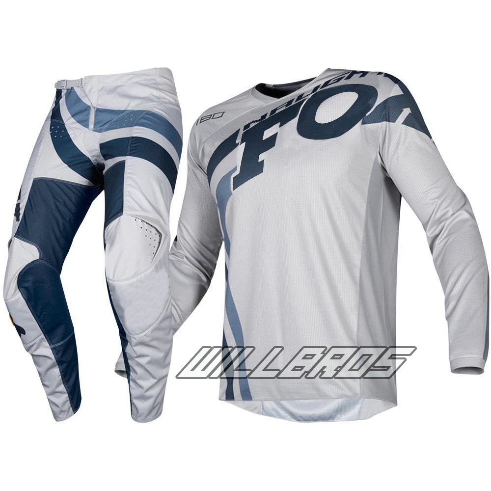 2019 MX 180 Cota Grey Navy Jersey & Pant Combo ATV Dirt Bike Motocross Wear Adult Gear Set