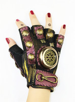 Takerlama Steampunk Gear Leather Punk Gloves Vintage Gothic Unisex Cosplay Gloves Medieval Accessory Half Finger Gloves