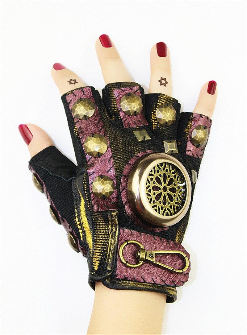 Takerlama Steampunk Gear cuir Punk gants Vintage gothique unisexe Cosplay gants médiéval accessoire demi doigt gants