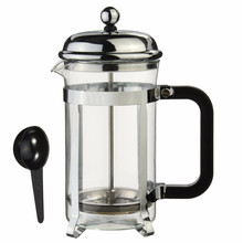 Sliver French Press Coffee Maker Cafetiere Cup Frame heat-resistant Glass Tea Pot Steel 600ml