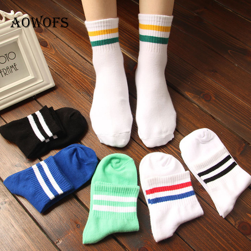 AOWOFS Women Men Unisex   Socks   Classic Stripe Black Blue White Casual   Socks   Fashion Female Retro   Socks   Popular 6 Color 1pc