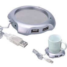 5 Pieces/Lot New USB 4 Ports Hub Warm Coffee Cup Warmer Gadget Heater