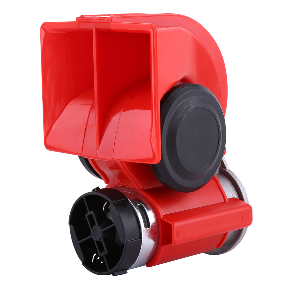 Buses and Motorcycles Trucks 12V Dual Tone Trumpet Super Loud Electric Air Horn Snail Electric Pump Siren Air Loud Horn Suitable for Most 12V Cars
