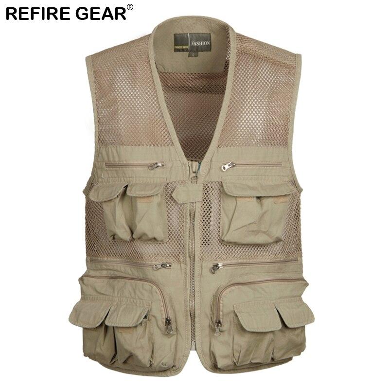 Refire Gear Summer Outdoor Breathable Multi Pockets Fishing Vest Men Cotton Sleeveless Waistcoat Quick Drying Hiking Climb Vest