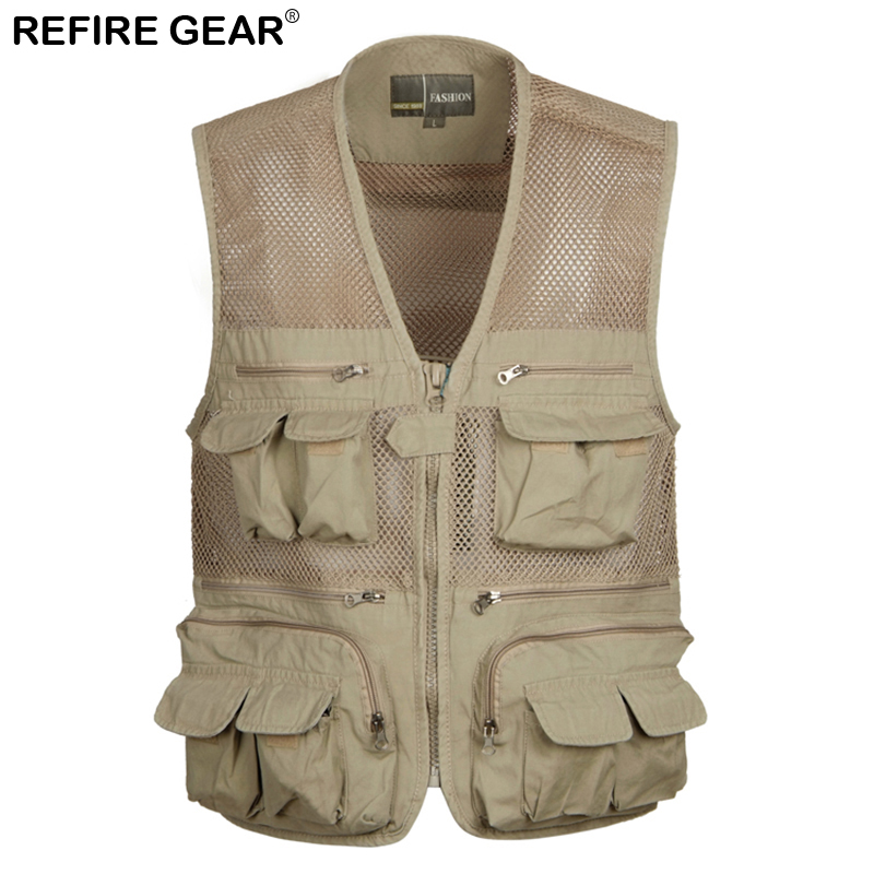 Official Website Refire Gear Summer Outdoor Breathable Multi Pockets Fishing Vest Men Cotton Sleeveless Waistcoat Quick Drying Hiking Climb Vest