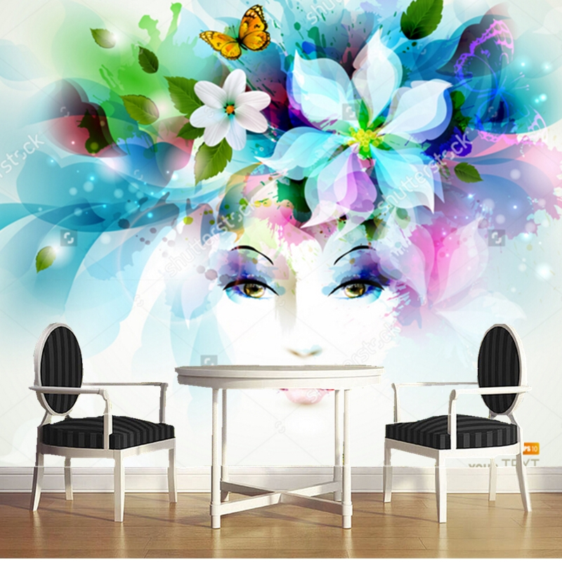 Custom modern wallpaper women face with flowers and for Butterfly mural wallpaper