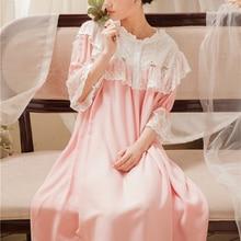 Women Loose Nightgown Long Sleepwear Nightdress Gown Sweet Retro Long Homewear Dress 5 color