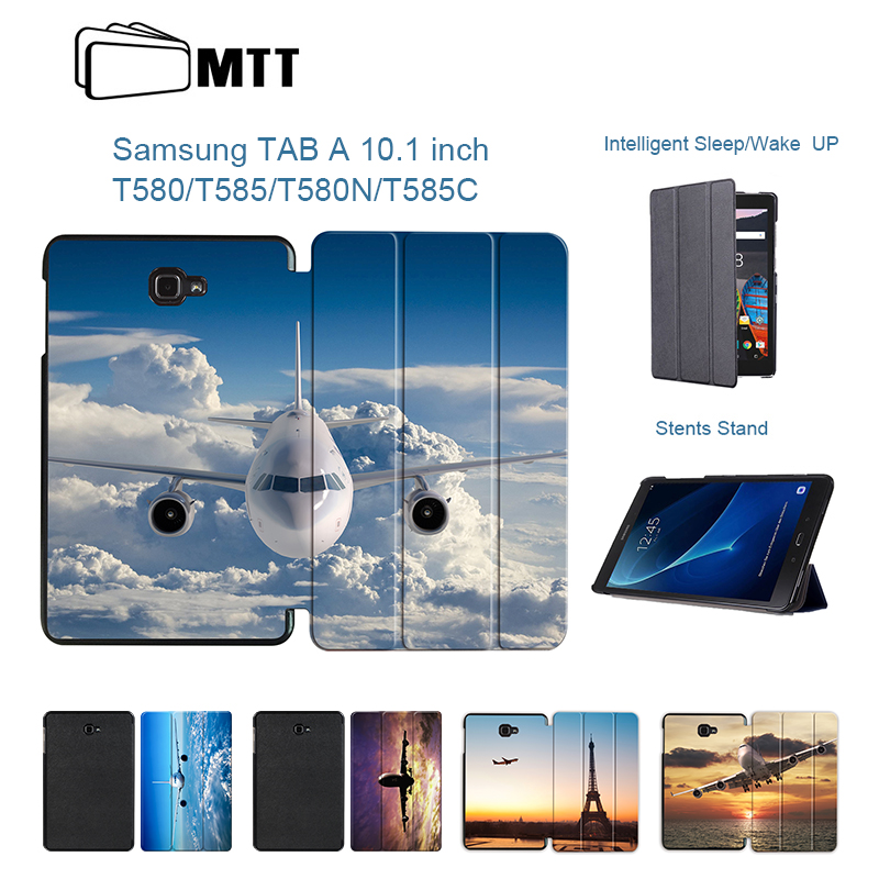 MTT New Case For Samsung Galaxy Tab A 10.1 2016 T580 T585 PU Stand Case Airplane Cover For Samsung Galaxy Tab A6 10.1 SM-T580