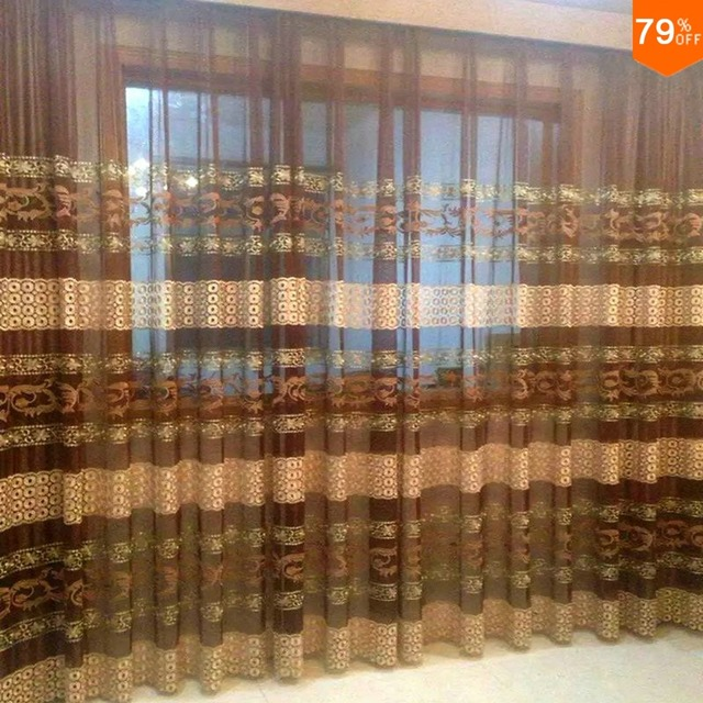Luxury Cafe Window Curtains Living Rooms Romance Embroidery Transparency  Curtains Organza Curtain Types For 1 Meter