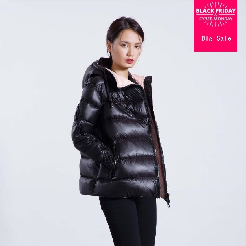 Winter fashion brand good quality can be opened sleeve 90% duck   down     coat   female zipper stitching hooded warm   down   parkas wq135