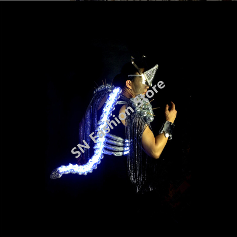 WX20 Mens Singer kýl ocas oblečení společenský tanec oblečení bar party dj disco vyhovuje výkon vedl lehké jevištní kostýmy